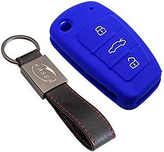 PhoneNatic Funda de Silicona para Mando de 3 Botones de Audi A6L en Rojo Llave Plegable de 3-Key