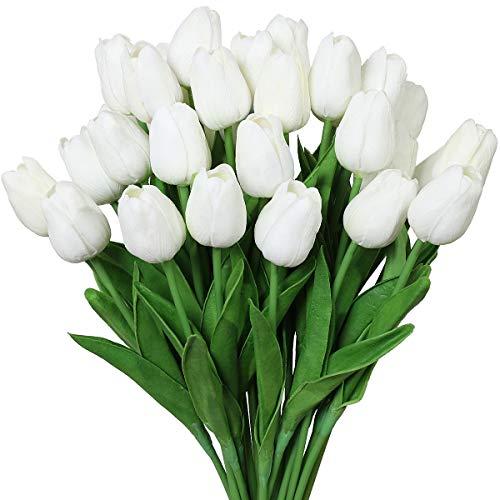 Nubry 30pcs Artificial Tulip Flowers Fake Real Touch Tulips Flower Bouquet for Wedding Arrangements Centerpieces Home Decoration (White)