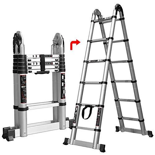 JHNEA Escalera Telescópica, Multiusos de Aluminio Escaleras de Mano Extensible Portátil Escalera Telescópica 330lbs hogar Stepladder Antideslizantes Capacidad,2.2m/7.2ft