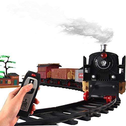 ZDSKSH Christmas Zug-Set batteriebetrieben mit realistischem Sound & Lichtern gemischt, Zugset mit Fernbedienung Klassische Weihnachts Eisenbahn mit realistischem Sound, Rauch und Licht