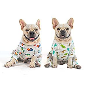 CuteBone Cotton and Stretchy Dog Pajamas Cute for Small Dogs Boy&Girl Clothes, 2 Pack