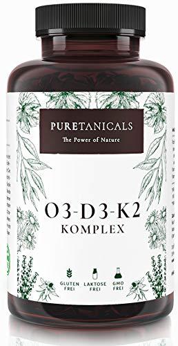 Omega 3 + Vitamin D3, K2 MK7 All-Trans mikroverkapselt - Premium Essentials O3-D3-K2 hochdosiert - Fischöl mit essentiellen EPA & DHA Fettsäuren | Fisch Öl Omega3 Fish Oil Tropfen | 240 Kapseln