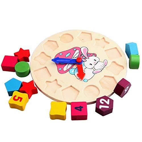Qiuge Baby-Kind-Ausbildungs-Spielzeug aus Holz Zahl Uhr-Spielzeug-Baby Bunten Puzzle Digitales Geometrie Uhr pädagogisches Spielzeug, Zufall Pointer Lieferung, Durable