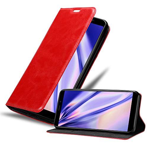 Cadorabo Hülle für MEIZU M6S in Apfel ROT - Handyhülle mit Magnetverschluss, Standfunktion & Kartenfach - Hülle Cover Schutzhülle Etui Tasche Book Klapp Style
