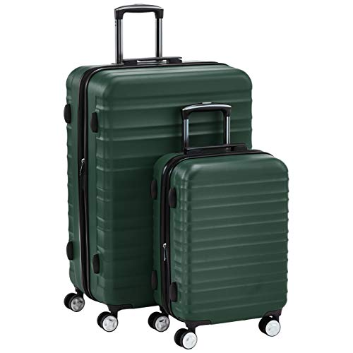 AmazonBasics  - Juego de 2 maletas rígidas giratorias verdes prémium