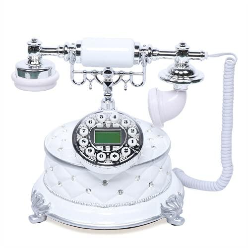 Teléfono vintage retro con botón de presión para teléfono fijo, estilo retro, compatible con FSK y DTMF para decoración del hogar, hotel, oficina