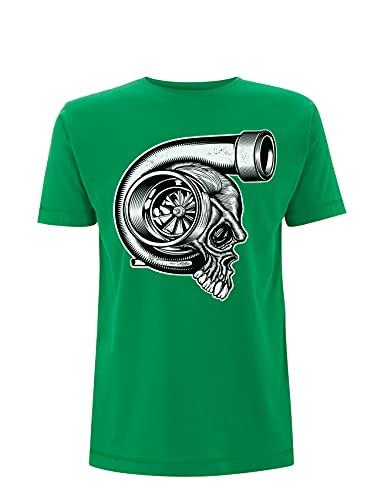 Generico Hochwertiges T-Shirt mit Turbo-Motorrad-T-Shirt aus Baumwolle, Biker, Rennen, Motorradhelm, grün, Small
