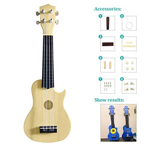21Inch DIY Ukulele Kit Cutaway Ukulele Make Your Own Ukulele Beginner Kit (Cutaway ukulele)