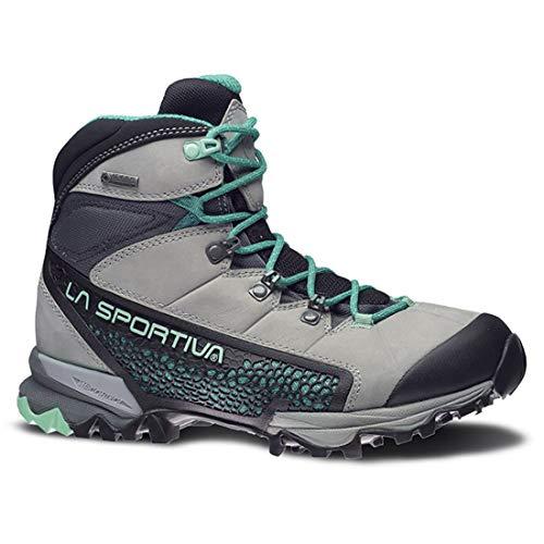 La Sportiva Women's Nucleo High GTX Hiking Shoe, Grey/Mint, 40.5