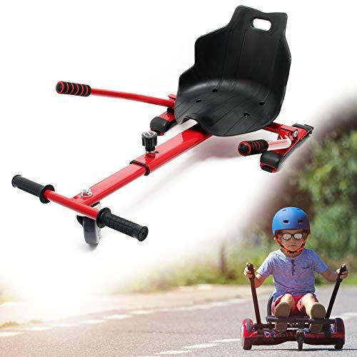 Wiltec Sedile Scooter Elettrico autobilanciato Compatibile con Hoverboard Regolabile Rosso Max 120 kg
