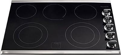 Frigidaire Gallery 30 Inch Electric, Ceramic Glass 5-Burner Flat Range Cooktop, Black, Stainless Trim