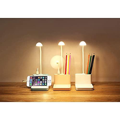 USB Recargable Táctil Portátil con Soporte para Bolígrafo Tablero de Mensajes con Ventilador Lámpara de Mesita de Noche Multifuncional,Pink