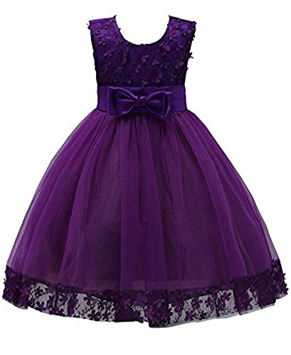 KISSOURBABY Girls Wedding Pageant Party Ruffles Dresses Baby Ball Gown Lace Dress with Bowknot Size 1T 2T (Deep Purple,90) 3-5T Wedding Birthday Party Dress Size 3-5 (Pink 120)