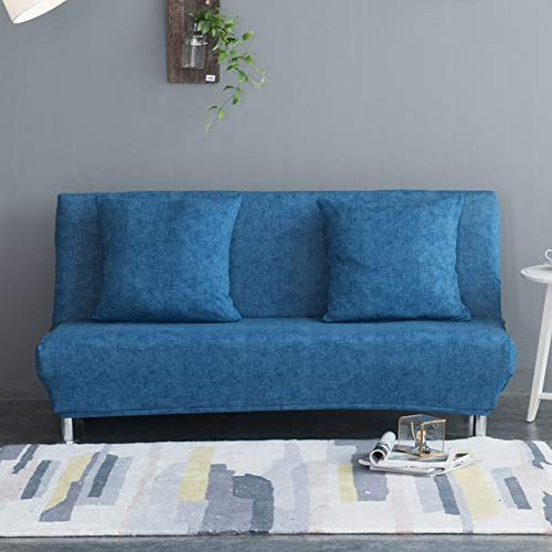 Monba - Funda de sofá cama con patrón de lino, plegable, sin brazos, con diseño de futón, poliéster, azul oscuro, XL:195-225cm