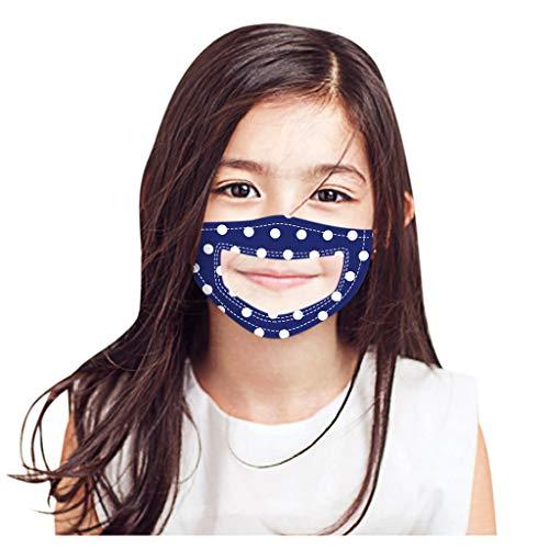 Kinder Mundschutz mit Motiv Waschbar Baumwolle Wiederverwendbar Transparent Mund und Nasenschutz Halstuch Multifunktionstuch fur Jungen Mädchen Schwerhörigkeit