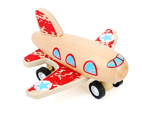 Small Foot 11153 Rückziehflitzer Flugzeug Rot aus FSC 100%-zertifiziertem Holz Spielzeug, Mehrfarbig