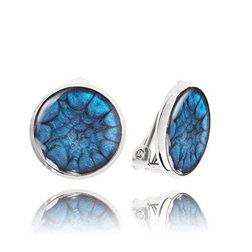 Orecchini a Clip Rotondi color Blu Zaffiro per le Persone Care