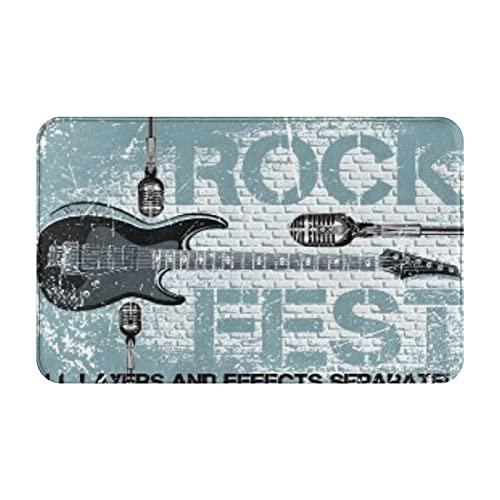 Marutuki Alfombra Decorativa para el Baño,Plantilla de diseño de Festival de Rock con micrófono de Guitarra,Alfombra de Baño Suave Antideslizante Micro Felpa,80 x 49 cm