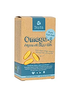 Testa Omega-3 – much Healthier than Fish Oil – plant based DHA + EPA from Algae oil – Pure and Vegan Omega-3 – 60 capsules by Testa
