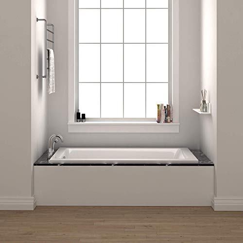 Fine Fixtures Drop In White Soaking Bathtub, Fiberglass Acrylic Material, 60'L x 30'W x 19'H.
