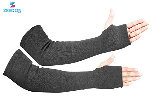 Kevlar Arm Sleeves- Heat, Scratch & Cut Resistant Arm Sleeve with Thumb Holes- Arm Safety Sleeves- 18 Inches, Black, 1 Pair