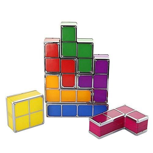 Onior Las Luces de los niños Tetris lámpara Creativa lámpara de Mesa 7 Piezas de Bricolaje apilable Rompecabezas llevó la inducción de Bloqueo luz de la Noche 3D Juguete lámpara de Escritorio, for la