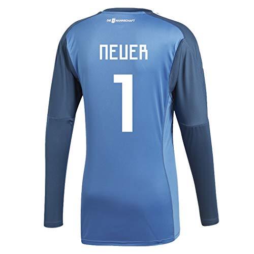 adidas DFB Goalkeeper Jersey Torwarttrikot Deutschland WM 2018 blau, Nummer und Name:1 - Neuer, Größe:176
