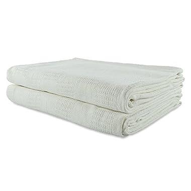Jmr Thermal Cotton Blanket Throw 100% Cotton (74x108, White)