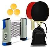 OWEMTECH Portable Table Tennis Set,Ping Pong Paddle Set,Retractable Net Post,3 Balls,2 Paddles,1 Storage Bag