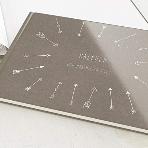 sendmoments Personalisiertes Malbuch mit Namen oder Lieblingsspruch, Jungen, tolle Geschenkidee, Skizzenbuch, Hardcover-Buch Querformat, 32 Seiten oder mehr - Pfeil & Bogen