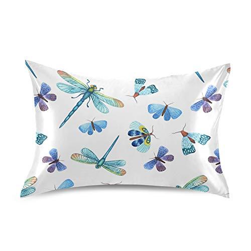 HaJie Funda de almohada de satén con diseño de libélula y mariposa, 100% poliéster, funda de almohada para cabello y piel, tamaño Queen 50,8 x 76,2 cm, 1 unidad