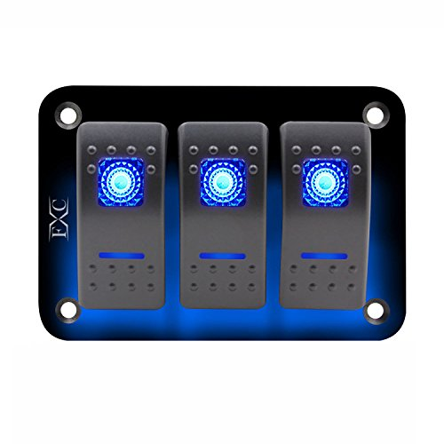 Globalflashdeal 12V-24V-3-Gang-Dual-LED-Licht-Rocker-Switch-Panel-Bar-Car-Caravan-Boot-Rv-Blue