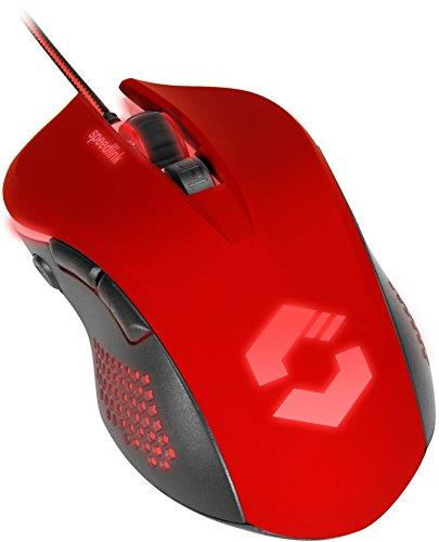 Speedlink Torn Gaming Mouse USB - 5-Tasten Gaming Maus PC, Computer, Schnellfeuertaste, bis zu 3.200 dpi, mit LED-Beleuchtung, schwarz-rot