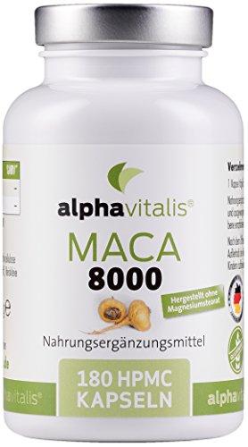 Maca Gold 8000 – 180 Maca Kapseln 20:1 Extrakt - vegan - ohne Magnesiumstearat - hochdosiert und...