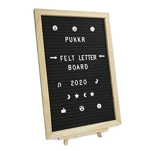 Pukkr Tablero de fieltro | 322 Letras Incluidas | Inspiración creativa en el tablero de anuncios | Independiente o montado en la pared 12x18in