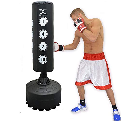 MAXSTRENGTH 6FT Free Standing Boxing Punch Bag kickboxing Training Heavy punching MMA Martial Arts with Strong Suction Base Dummy Equipment (6ft Target Black)