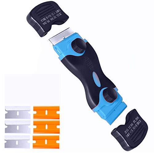 Plastic Razor Scraper, double-edged Razor Blade Remover Tool With 6 Pcs Razor Blades for Label Sticker Decal Removal Automatic Window Tinting Vinyl Application (Blue)
