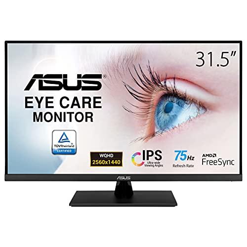 ASUS VP32AQ - Monitor Eye Care 31.5 pulgadas, WQHD (2560 x 1440, IPS, 100% sRGB, HDR-10, 75Hz, Adaptive-Sync/FreeSync, DisplayPort, HDMI, Antiparpadeo, Filtro de luz azul)