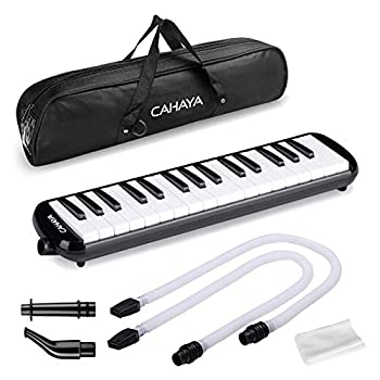 CAHAYA Melodica 32 Keys Double Tubes Mouthpiece Air Piano Keyboard Musical Instrument with Carrying Bag 32 Keys Black