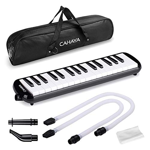CAHAYA Melodica 2 Double Mouthpieces Tube Set Pianica Melodicas Piano Style Portable with Carrying Bag (32 Keys, Black)
