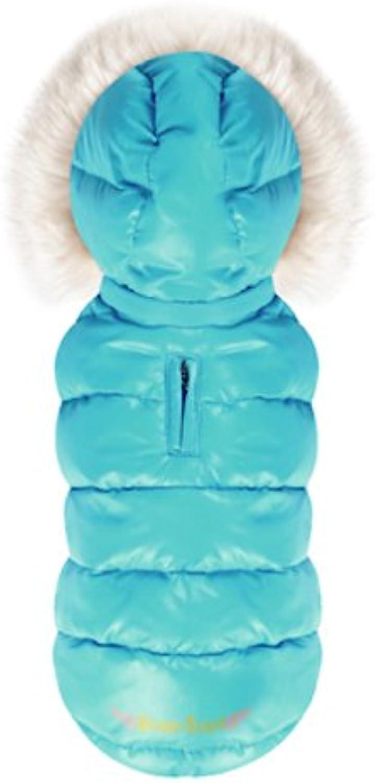 Puppy Angel Trim Down Jacket with Hood Size S Sky bluee
