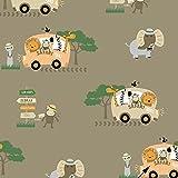 11,99€/m Safari Tiere Bus 100% Baumwolle Baumwollstoff