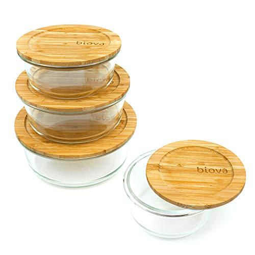 Biova | Ensemble de 4 contenants ronds en verre pour la conservation des aliments avec couvercles écologiques en bambou - Bols à mélanger en verre à bento pour les restes, la cuisson et les repas