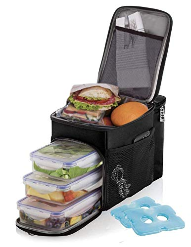 Lunch box For Men Insulated cooler Lunch bag w/ 3 compartment - Includes 3 Meal Prep Containers - Detachable Shoulder Strap + 2 Ice Packs. Strong SBS Zippers Great gifts For Men (Black)
