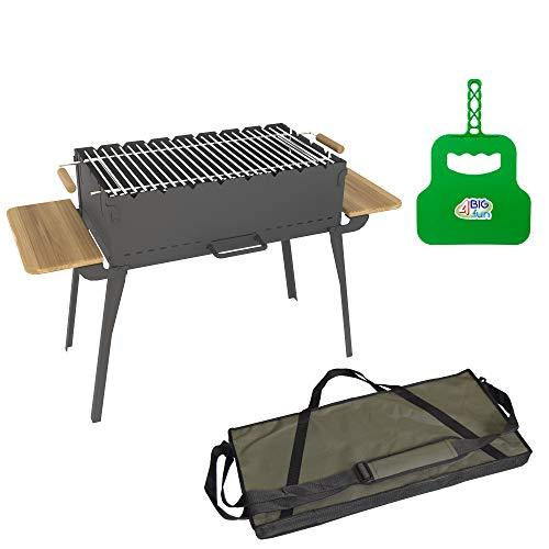 4big.fun houtskoolbarbecue, inklapbaar, van staal (2 mm), incl. grillrooster, grillvakken en tas, grill met zijplateaus van natuurlijk hout, mangal voor 8 spiesen, voor sjasliek, BBQ (klapgrill)