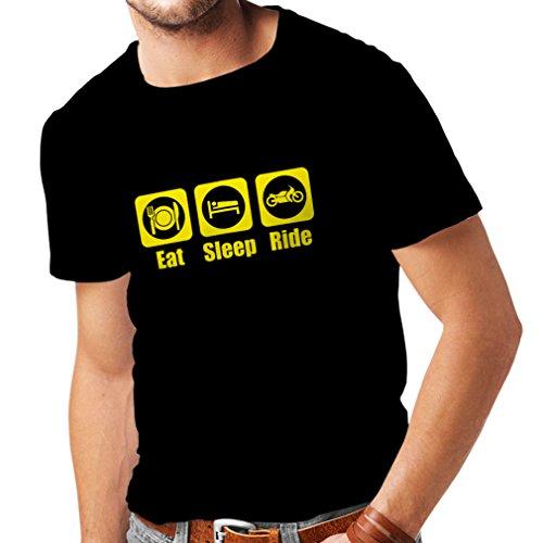 Camisetas Hombre Eat - Sleep - Ride, Regalo para Motociclistas Ropa de Moto (XXXXX-Large Negro Amarillo)