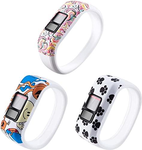 Correa de Reloj de Silicona Suave Compatible con Garmin Vivofit JR/Vivofit JR2 / Vivofit 3, Repuesto Ideal (3-Pack H)