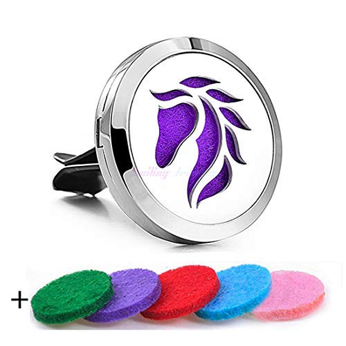 YOYONY Car Air Freshener Aromatherapy Essential Oil Diffuser Vent Clip Fragrance Air Purifier Stainless Steel Magnetic Locket 6 Colorful Felt Refill Pads,Best Gifts for Drivers. (Horse)
