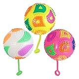 GARNECK 3PCS Light Up Spike Ball Spike YoYo Balls Bouncy Ball Blinking Sensory Toys for Kids Party Favor Outdoor Playing(Random Color)