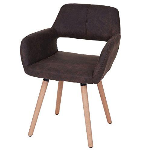 Chaise de Salle à Manger HWC-A50 II, Fauteuil, Design rétro des années 50 - Tissu, Marron foncé